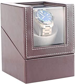 [Upgrade]Automatic Single Watch Winder Box for 1 Rolex Wrist Watches,in Wood Shell and Leather,Quiet Japanese Mabuchi Motor,Winding Watch Case for Men Women, Battery Powered or AC Adapter