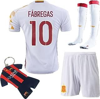 Soccer Kids 2016 Kids Youth Spain Away Jersey #10 FABREGAS Kit Short Sleeve & Shorts & Socks & Key Chain 3-12 YRS