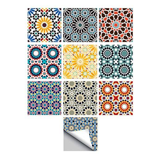 perfk 10pcs 20cm Autoadhesivo Mosaico de Azulejos de Pared de Vinilo Adhesivo de Ladrillo - D, Individual
