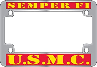 US Armed Forces Military Metal Motorcycle License Plate Frame - United States Marine Corps Semper Fi USMC