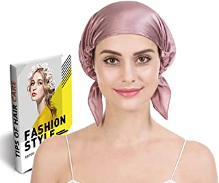 Savena 100% Mulberry Silk Night Sleeping Cap for Long Hair Bonnet Hat Smooth Soft Many Colors, Hair Care Ebook Included (Cameo)