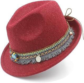 ハット レディース フェルトハット アウトバック フェドラ帽子 タッセル ボヘミアリボン エレガント レディジャズ 教会 ゴッドファーザーソンブレロキャップ LHZUS (Color : レッド, Size : 57-58cm)