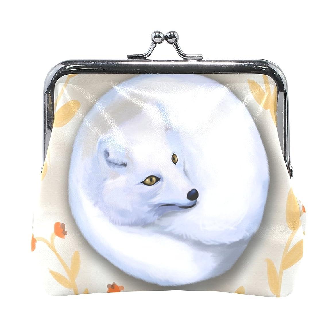 とは異なり構造的リズミカルなAOMOKI 財布 小銭入れ ガマ口 コインケース レディース メンズ レザー 狐 かわいい 白