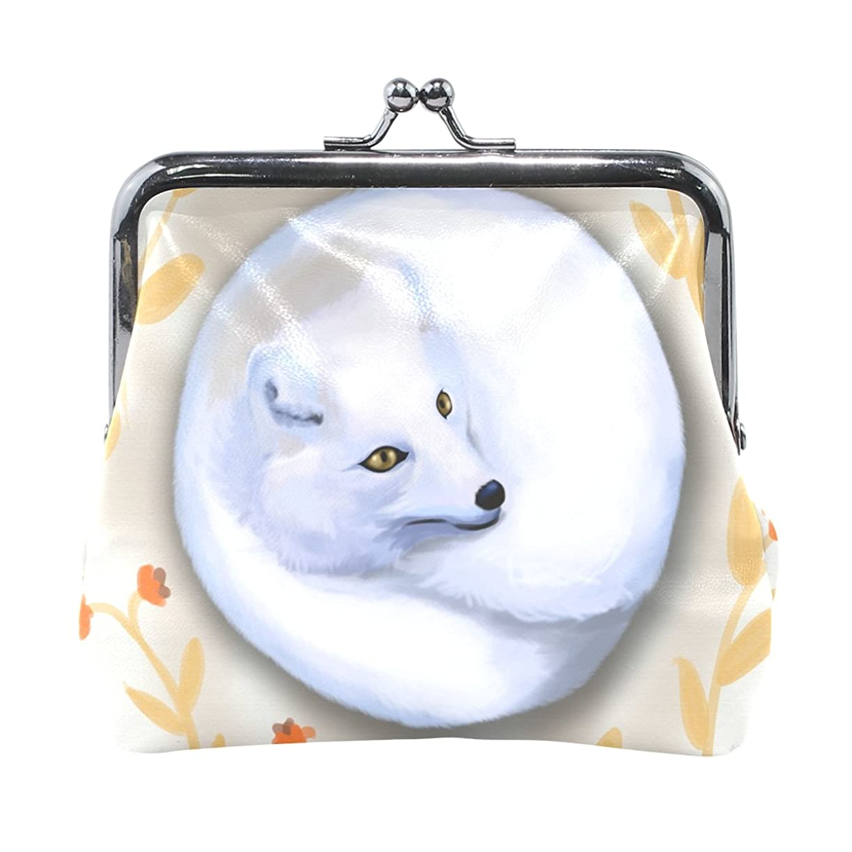 農業のめんどりリスキーなAOMOKI 財布 小銭入れ ガマ口 コインケース レディース メンズ レザー 狐 かわいい 白