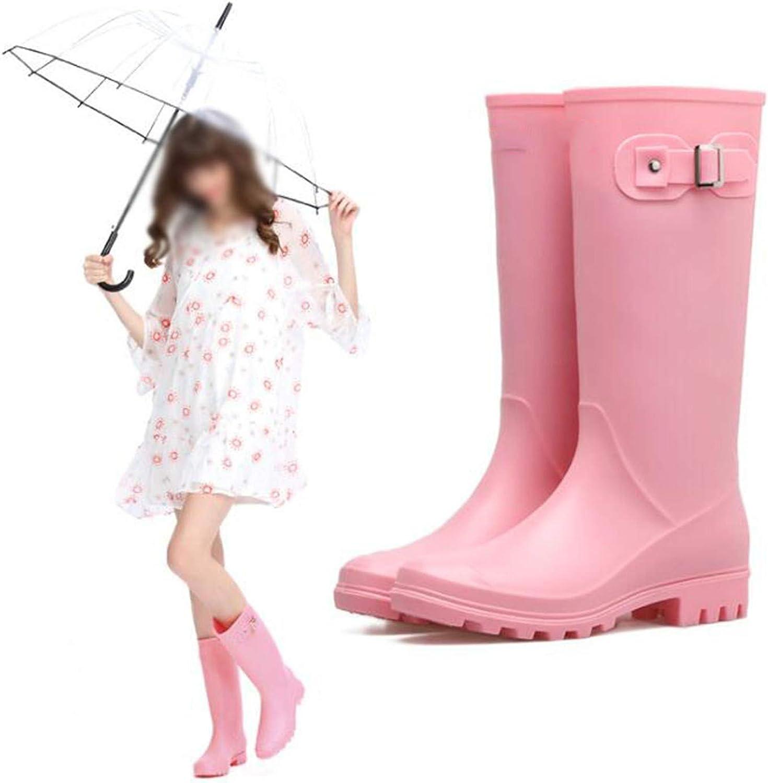Michavk Ladies Waterproof Rainboots Female Knee-high Rubber Rain Boots Pink
