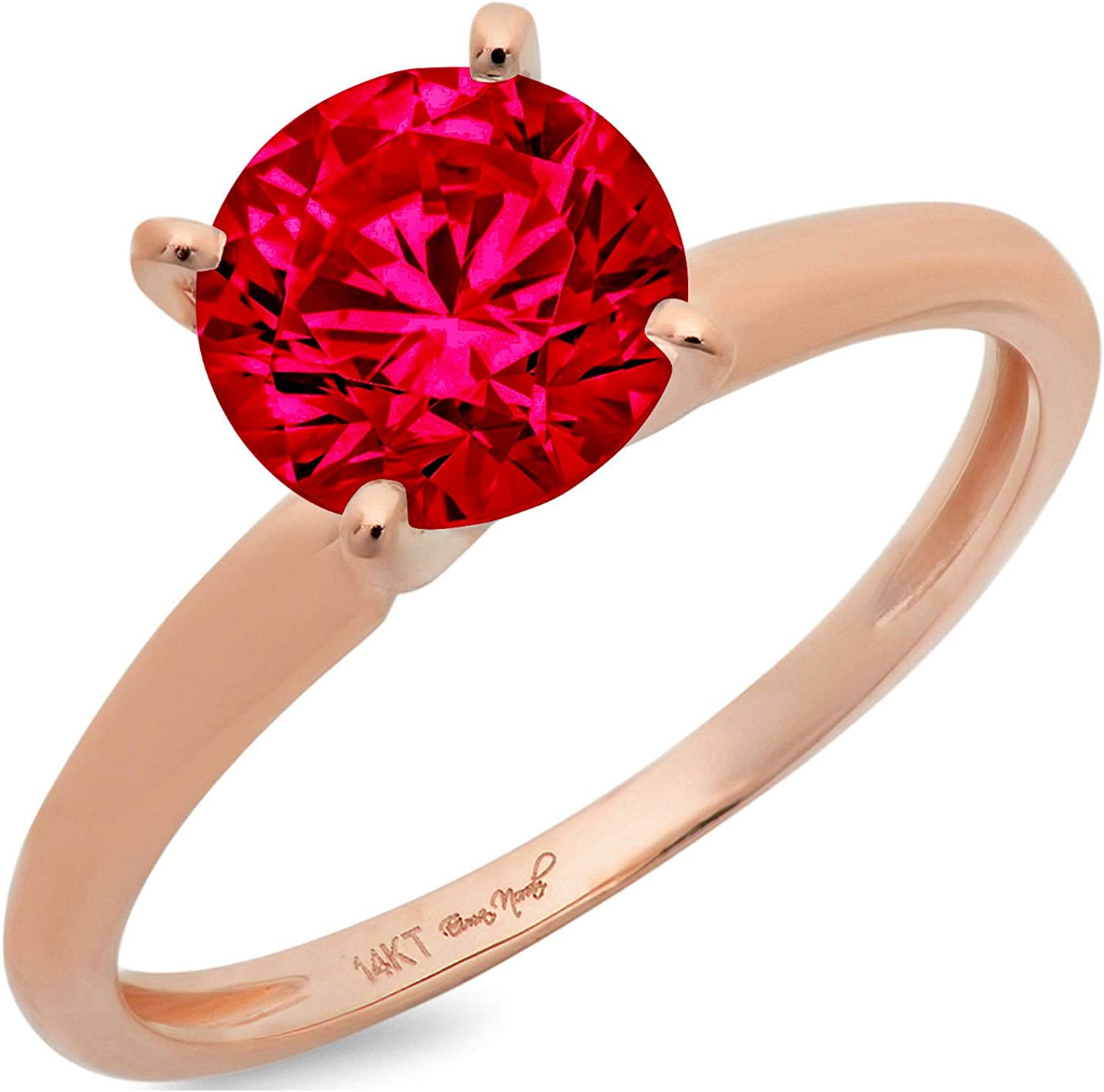 2.45ct Round Cut Solitaire Flawless Ideal CZ Ruby NEW before selling New Orleans Mall Red Simulated