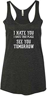 Panoware Women's Funny Workout Tank Top | I Hate You I Hate This Place See You Tomorrow