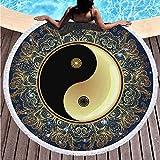 ANYSUNNYDAY Toalla de Playa Redonda Chismes de Tai Chi Esterilla de Yoga o para Picnic Manta de Playa Chal de Playa 150 cm de diámetro