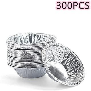 Molde de aluminio desechable de 7,6 cm para tartas de huevos, tartas de pastel, tartas de huevo, latas de pastel, 300 unidades por paquete