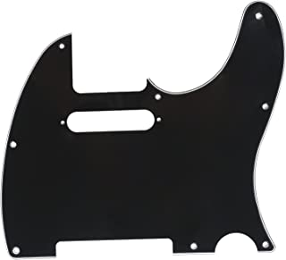 Musiclily 8 Hole Tele Guitar Pickguard for USA/Mexican Made Fender Standard Telecaster Modern Style, 3Ply Black