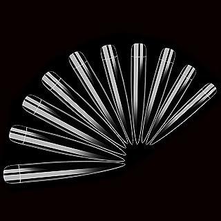 AORAEM Stiletto False Nail Clear Extra Long Sharp Nail Art Tips 12 اندازه 120 عدد ناخن تقلبی اکریلیک (ناخن بلند و شفاف)