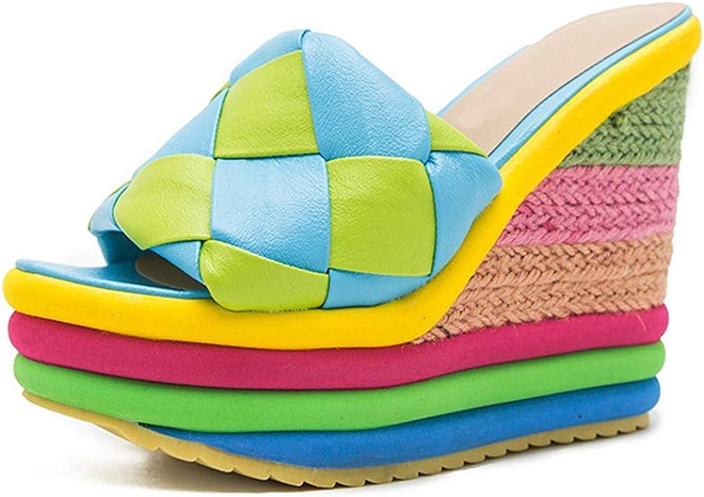SO SIMPOK Women Plaid Mixed Colors Knit Wedge Sandals Colorful Rainbow Summer Slides Dress Platform Sandals