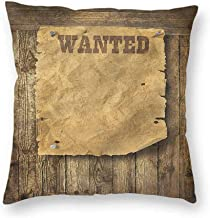 Mannwarehouse Western Polyester Pillowcase Retro Wanted Poster Design Suitable for Hair and Skin healthW26 x L26