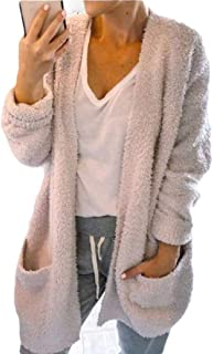 Womens Fuzzy Chunky Cardigan Popcorn Oversized Sherpa Slouchy Open Sweater Coat