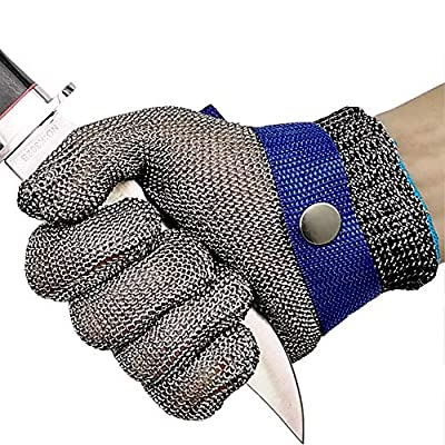 Cut Resistant Gloves Stainless Steel Wire Metal Mesh Butcher Safety Work Gloves for Cutting, Slicing Chopping and Peeling (Small)