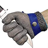 Cut Resistant Gloves Stainless Steel Wire Metal Mesh Butcher Safety Work Gloves for Cutting,Slicing Chopping and Peeling(Large)