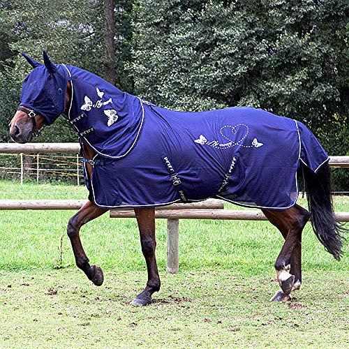 PFIFF 102142 Fliegendecke für Pferde, Motiv Schmetterling, engmaschig hochwertig, blau, 135
