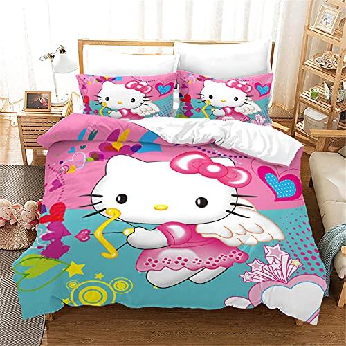 copripiumino singolo hello kitty Morbida Microfibra Con 2 Pz Federa Copripiumino Singolo Hello Kitty / Cartone Animato Gatto 155 X 220 Cm Copripiumino 155X220