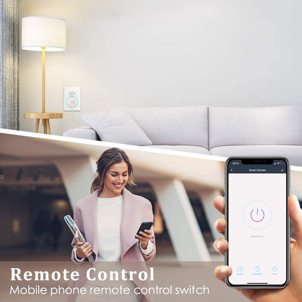 Work with Google Home//IFTTT ETL FCC Listed WiFi Outlet Plug 2 Pack Smart Life APP Smart Outlet Remote Control Timer//On//Off Switch Smart Plugs