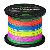 DYMALAN Braid fishing line 4 strands 80LB 100M/109YDS diameter 0.50mm Multicolor PE braided line super strong and thin for river&sea&ice&fly fish with saltwater or freshwater