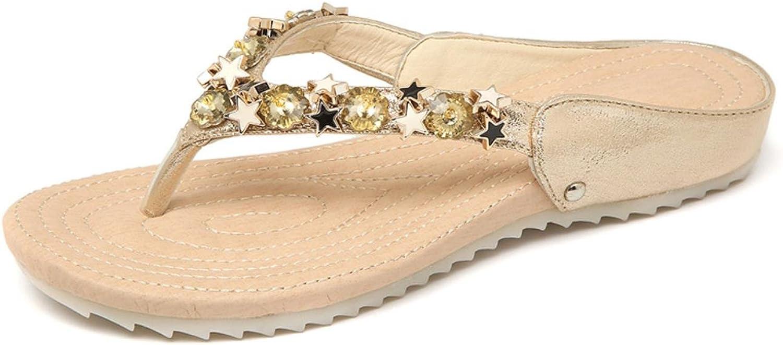 Women Fashion Flip Flops Summer Beach String Bead PU Slippers Ladies Beautiful Flat shoes