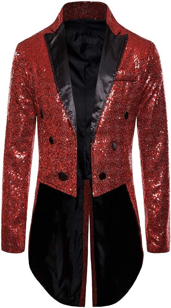 Mens Sequin Tuxedo Tailcoat Swallowtail Suit Jacket Dinner Party Wedding Blazer Slim Fit Show Tux Dress Coat