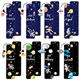 48 Pieces Space Outer Theme Bookmarks Inspirational Quotes Bookmarker and 48 Pieces Space Astronaut Spaceship Charms Colorful Planet Bookmarkers School Office Reading Giving for Men Women Kids Student