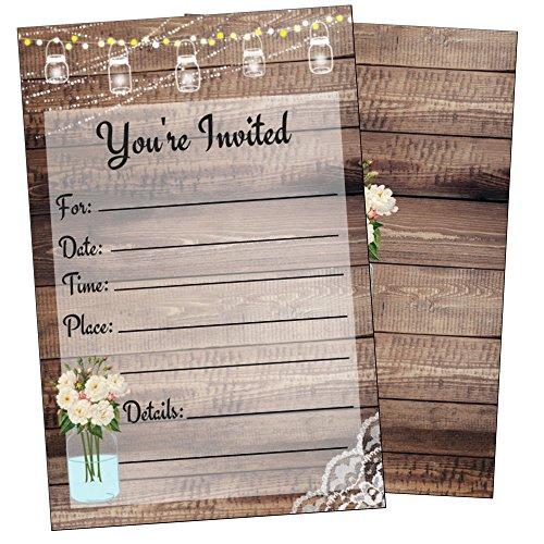 Elegant Rustic Invitations-Bridal or Baby Shower, Birthday, Wedding Rehearsal Dinner, Engagement, Bachelorette, Reception, Anniversary, Housewarming, Sweet 16, Retirement- 25 Invites and Envelopes