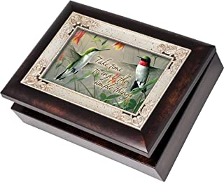 Cottage Garden Hummingbirds Burlwood With Silver Inlay Italian Style Music Box/Jewelry Box Plays Wind Beneath My Wings