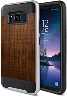 FINCIBO Case Compatible with Samsung Galaxy S8 Active G892A 5.8 inch, Dual Layer Brushed Hybrid Hard Protector Case Cover Anti Shock TPU for Galaxy S8 Active (NOT FIT S8/ S8 Plus) - Red Brown Wood