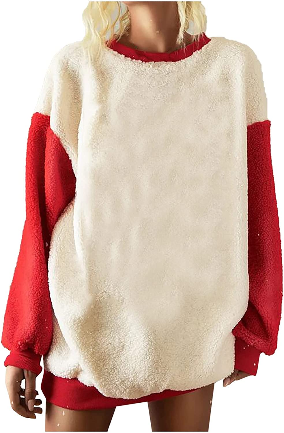 BRKEWI Merry Christmas Fuzzy Sweatshirt Color Special Campaign Block Same day shipping Clothe Women