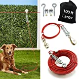 Aerial Dog Tie Out Trolley System Dog Run Cable 100 ft Dog Zipline with 10ft Dog Runner Cable for Yard Camping Outside Durable & Strong Tie Out Cable Great for Large Medium Small Dogs Up to 125 lbs