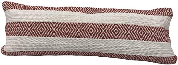 "LR Home Geometric Striped Lumbar Pillow, 14"" x 36"", Red/White"