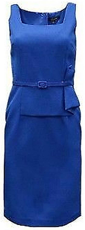David Meister Women's Textured Peplum Belted Dress Royal Blue