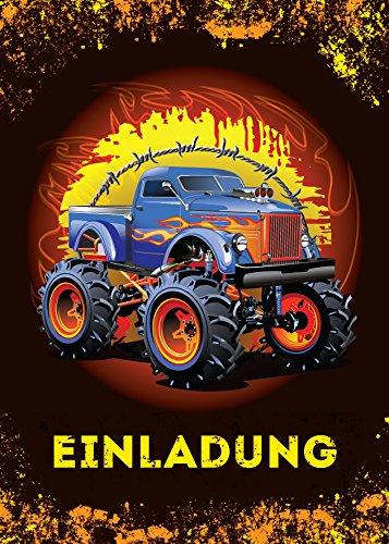 6 Einladungskarten Kindergeburtstag Jungen Monstertruck Jungs Geburtstagseinladungen Einladungen Kartenset Monster-Truck Geburtstag Karten Auto