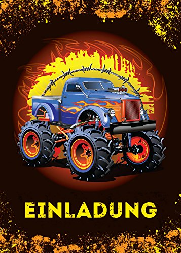 10 Einladungskarten Kindergeburtstag Jungen Monstertruck Jungs Geburtstagseinladungen Einladungen Kartenset Monster-Truck Geburtstag Karten Auto