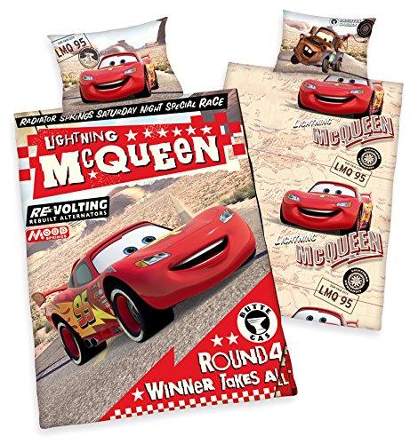Disney Disneys Cars Kinder BETTWÄSCHE 40x60 100x135cm, 100% Baumwolle mit Reißverschluss