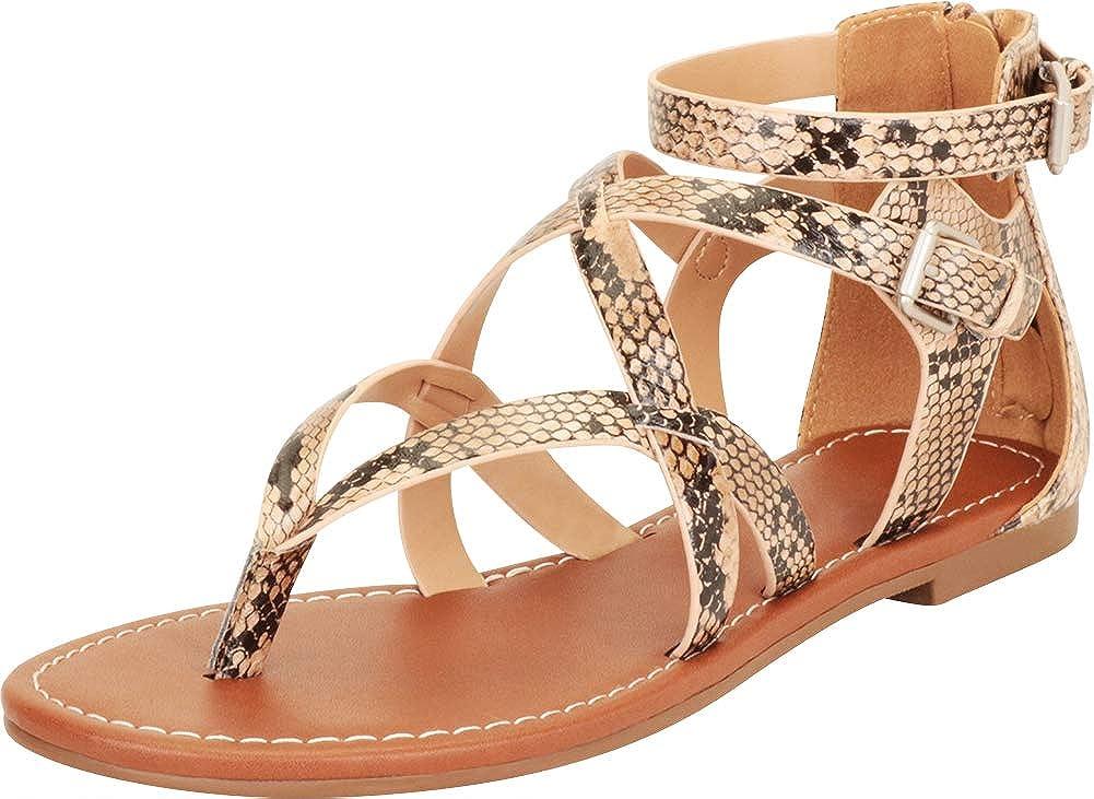 Cambridge Select Women's Thong Toe Strappy Crisscross Flat Sanda