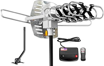 ViewTV Outdoor Amplified Antenna with Adjustable Antenna Mount Pole - 150 Miles Range - 360° Rotation - Wireless Remote