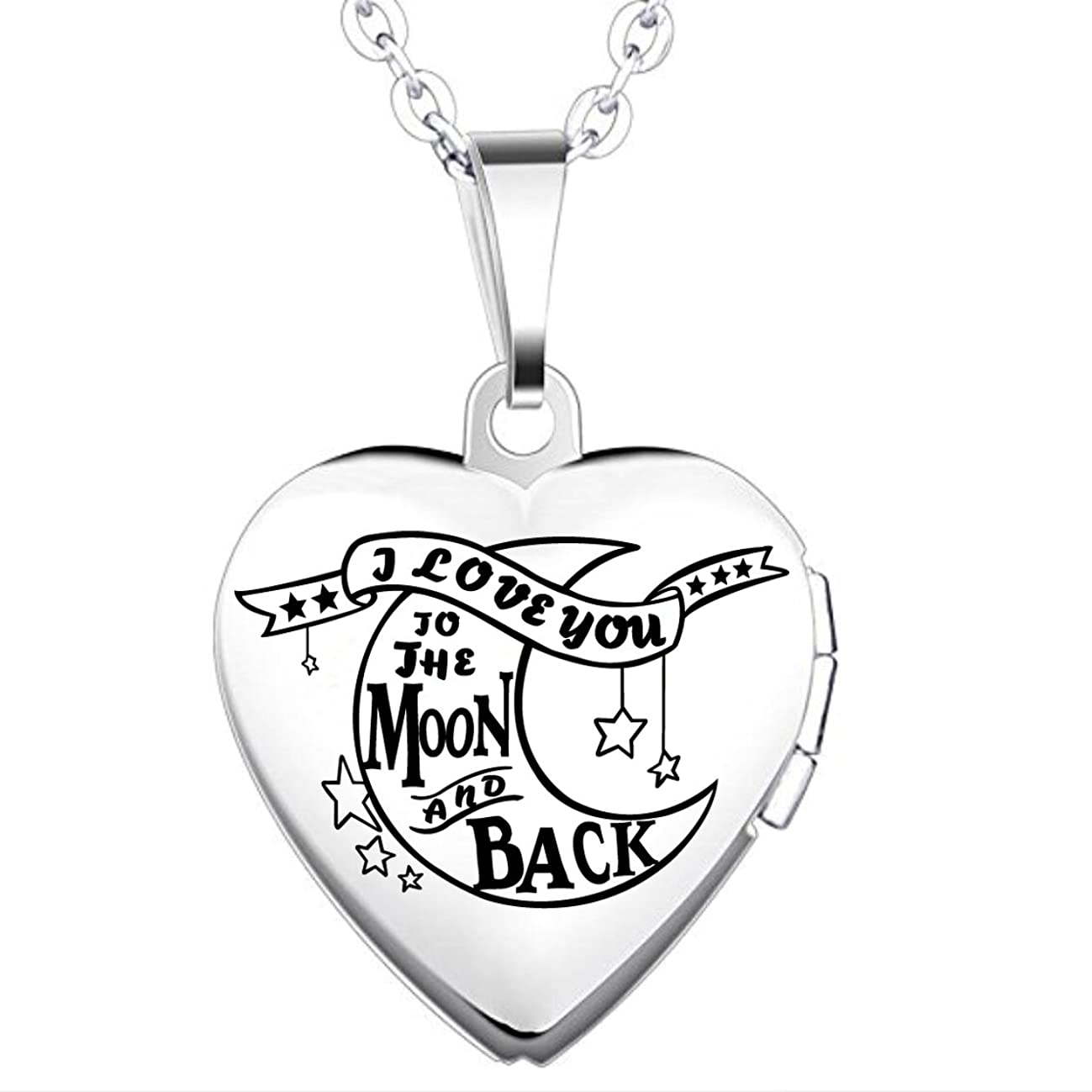 IXIQI Locket I Love You to the Moon and Back Titanium Heart Infinity Love Locket Necklace