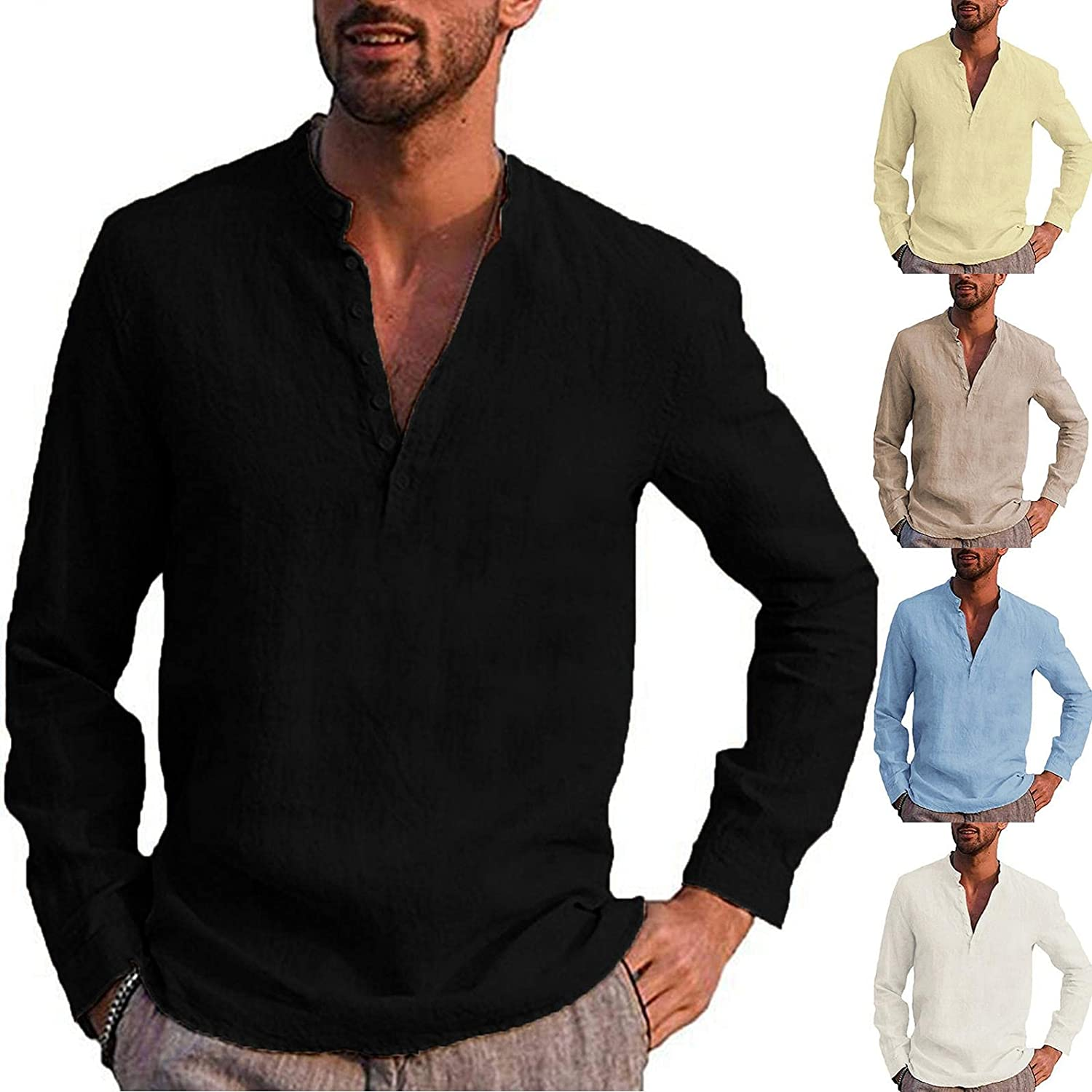 Mens Henley Shirts Solid Long Sleeve Stand Collar Button Tops Hippie Casual Beach T Shirt Soft Comfy Slim Fit Top