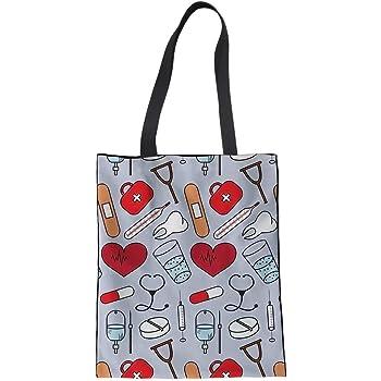 POLERO Bolsa de la compra, lona de algodón, bolsa de la compra, bolsa de tela, bolsa de algodón con estampado de dibujos animados, para niña, mujer, enfermera, trabajo diario (amarillo), gris, 42x34cm: