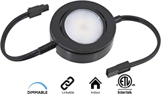 American Lighting MVP-1-BK-B Single Linking Puck with 6-Inch Lead/Tail Wires and Mounting Screws, Dimmable Swivel LED, Linkable, cETLus Listed, 2-3/4-Inch, 2700K, Black MVP Collection