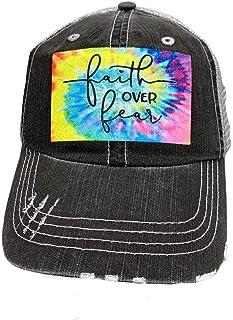 Faith Over Fear Women's Distressed Trucker Hat Baseball Cap