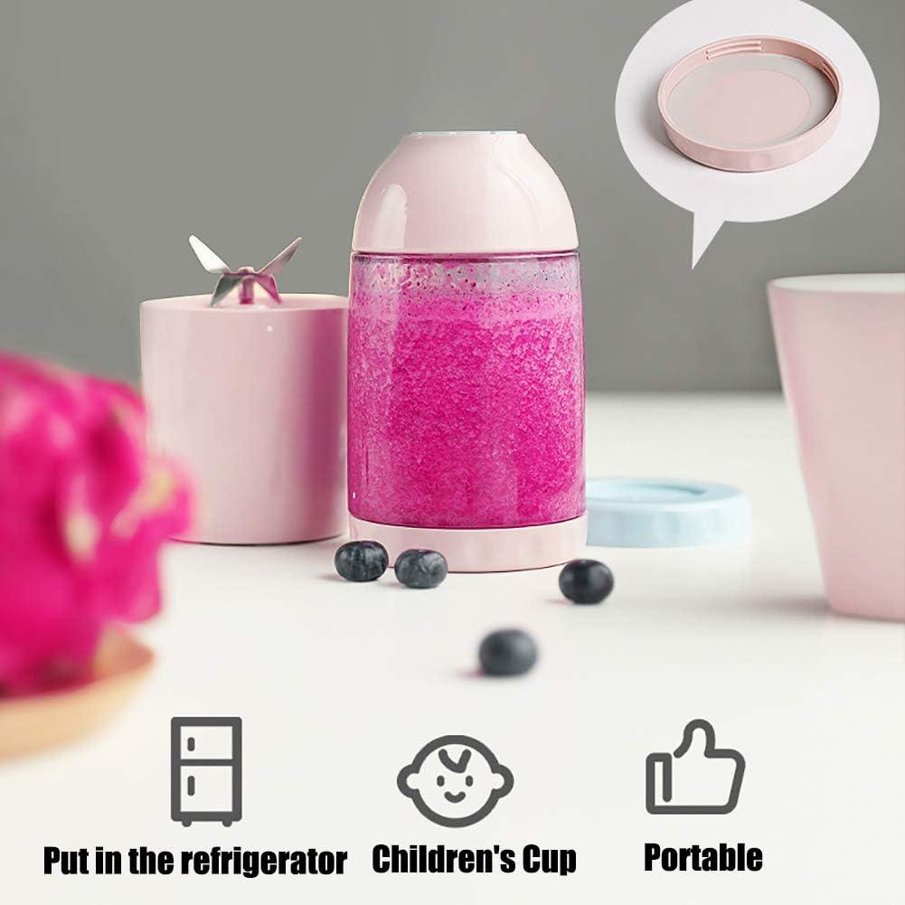 380Ml Blender Portable, Personnel Vitamine Citron Juicer pour Milkshake Et Smoothies 4 Lame Coupe USB Rechargeable Juicer avec 4000Mah Mini Juicer Portable,Rose Blue