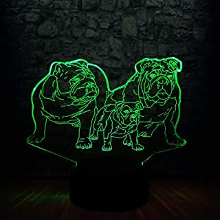 3D French Bulldog Night Light Touch Switch Decor Table Desk Optical Illusion Lamps 7 Color Changing Lights LED Table Lamp Xmas Home Love Brithday Children Kids Decor Toy Gift