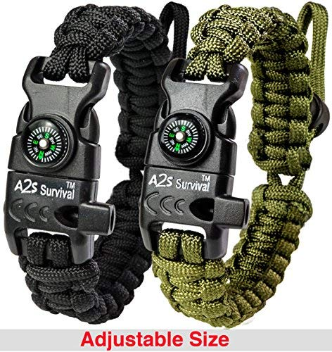 A2S Protection Paracord Bracelet K2-Peak – Survival Gear Kit with Embedded Compass, Fire Starter, Emergency Knife & Whistle (Black/Green Adjustable Size)