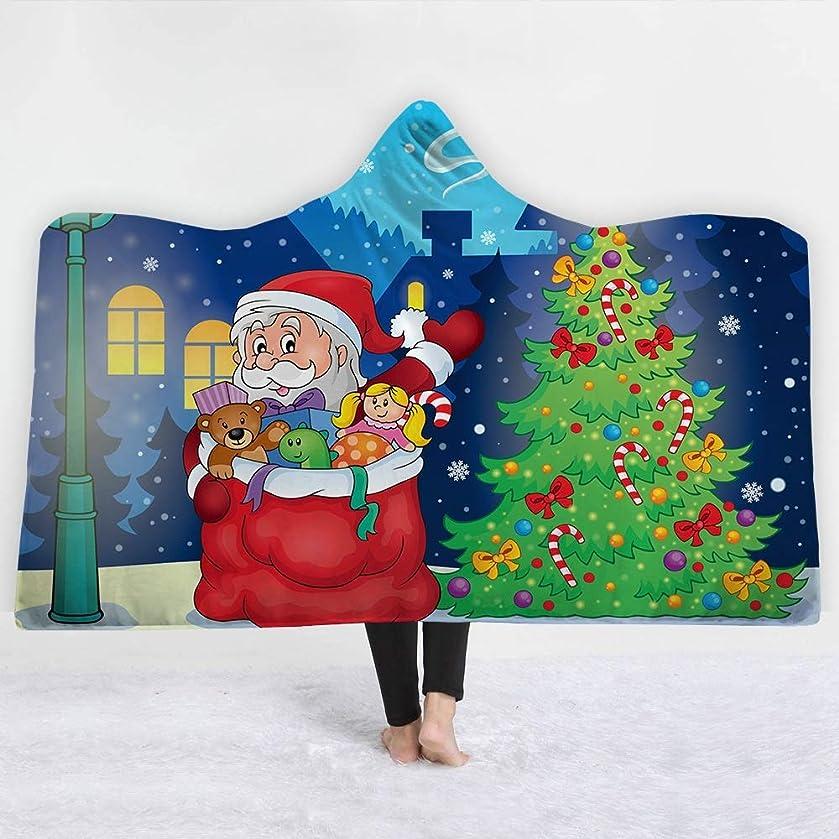 ビスケット科学者宿るフード付き毛布/投球毛布/ソファ毛布 - 3D(クリスマス)印刷ウェアラブル投球ソファナップ毛布 - スーパーソフトシェルパフリース毛布 - 大人と子供に最適 - メリークリスマス (Color : 26, Size : M-50