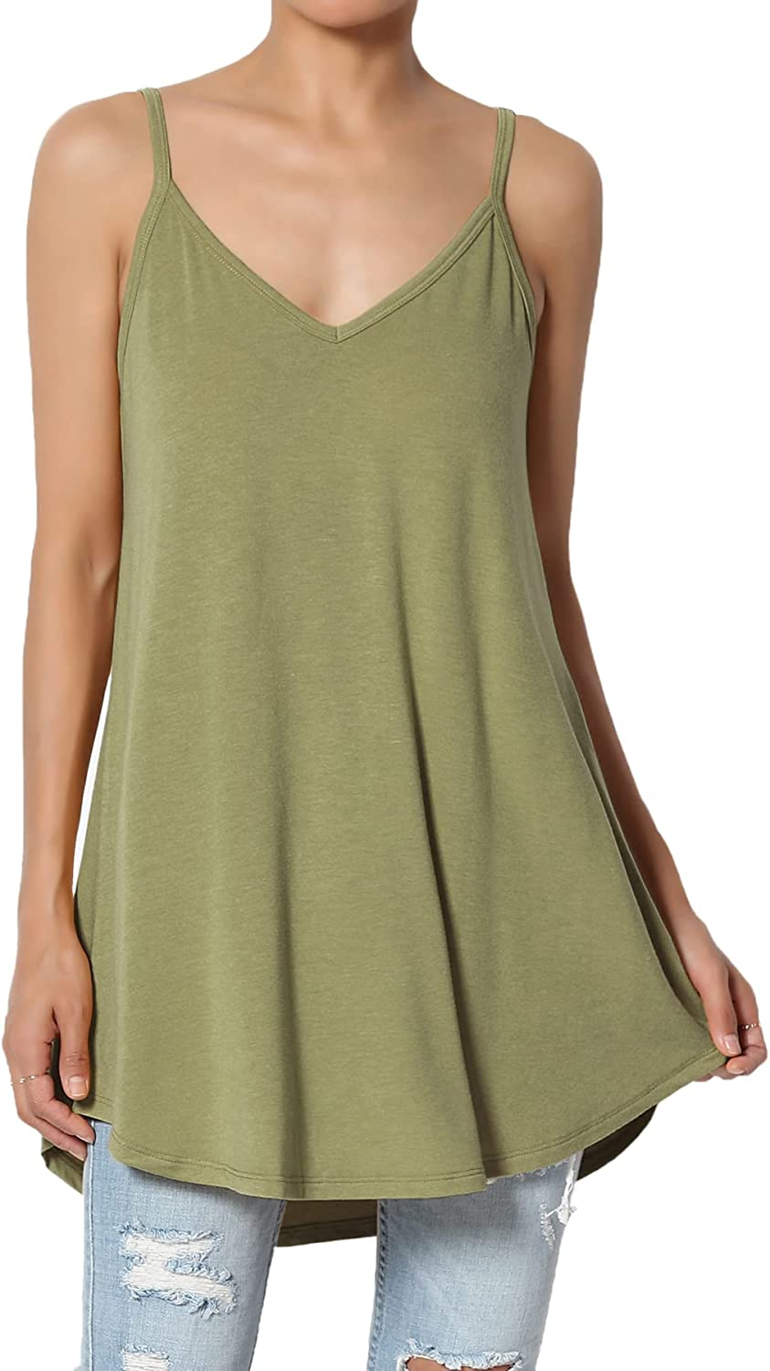 TheMogan S~3X Scoop & V Neck Stretch Draped Jersey Flared Camisole Strappy Top