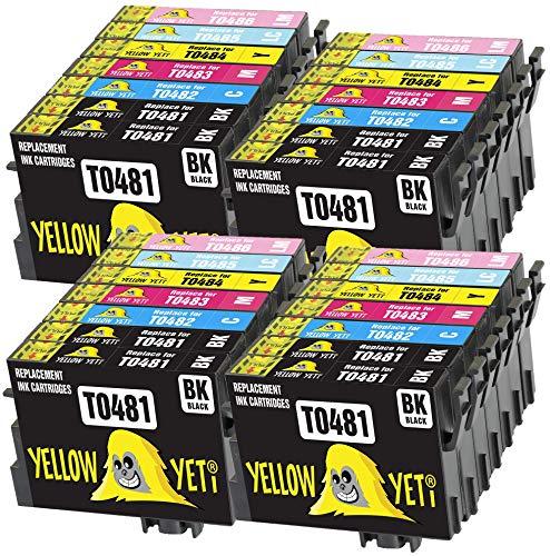 Yellow Yeti Ersatz für Epson T0487 T0481 T0482 T0483 T0484 T0485 T0486 28 Druckerpatronen kompatibel für Epson Stylus Photo R300 R220 R340 R200 R320 RX500 RX600 RX620 RX640